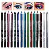 Eyeliner, 15 Colores Eyeliner Pen Set Colorful Eyeliner Pencil Pearl Eyeliner Kit Delineador de Ojos Colorido Impermeable para el Swing de Ojos de Gato Ideal