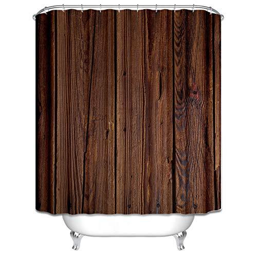 Aienid Bad Vorhang Antischimmel Holz Dunkelbraun Wasserdicht Duschvorhang Size:150X200CM