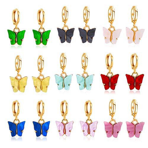 PROJEWE 9 Piezas Mariposa Pendientes Colgantes de Colores de Aro Redondos Circulo Huggie Pendientes Set Antialérgicos para Mujeres Niñas