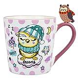 Vaeneral Tazza da caffè in ceramica, tazza da tè carina per ufficio e casa, disegno del modello del gufo dei cartoni animati, regalo di tazze da caffè da 12 once per donne e uomini (gufo del sonno)