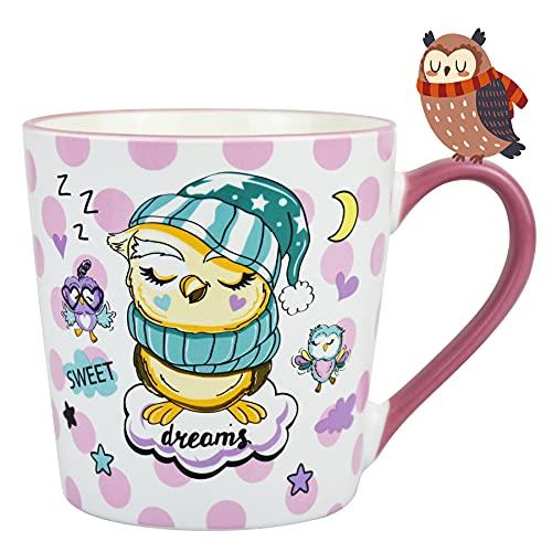 Vaeneral Taza de café de cerámica, taza de té linda para oficina y hogar, diseño de búho de dibujos animados, regalo de tazas de café de 12 onzas para mujeres y hombres (búho del sueño)