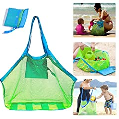 "Nice Big Size Mesh Beach bag--- This is XL size mesh beach bag, approx 18"" high (not include handles) x bottom is 12"" x 18"", Mesh Beach Bag can holds such as children's toys,towels, clothes,swim accessories,for camping or other essential goods for ou..."