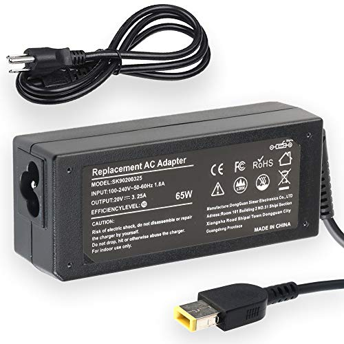 65W 20V 3.25A AC Adapter Charger for Lenovo ThinkPad X1 Carbon L440 L450 L540 T431s T440 T440p T440s T450 ADLX65NDC3A ADLX65NCC2A Laptop Power Supply with Cord