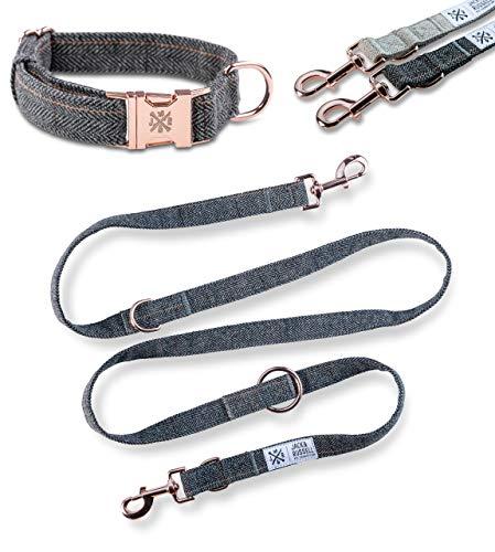 Jack & Russell Tweed Set Hundeleine 2,0m + Halsband mit roségoldenen Karabiner - Hundeleine elegant mehrfach verstellbar (L/XL, dunkelgrau - meliert)