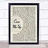 Cover Me Up Vintage Script Song Lyric Quote Print