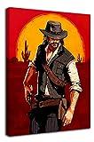 Red Dead Redemption - Póster enmarcado de madera, diseño de John Marston Canve para baño, estirado y listo para colgar