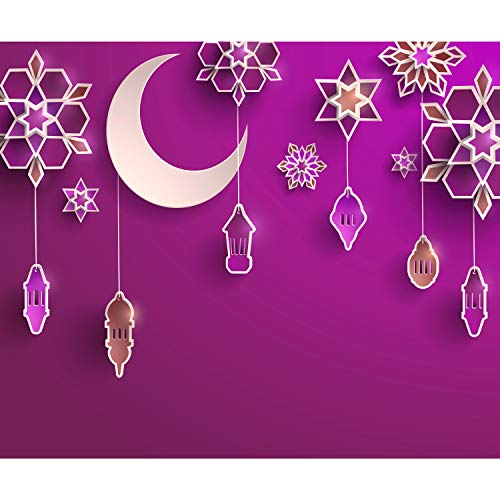 decomonkey Fototapete selbstklebend Kinderzimmer Mädchen 343x256 cm XL Selbstklebende Tapeten Wand Fototapeten Tapete Wandtapete klebend Klebefolie Sterne Mond Figuren violett rosa
