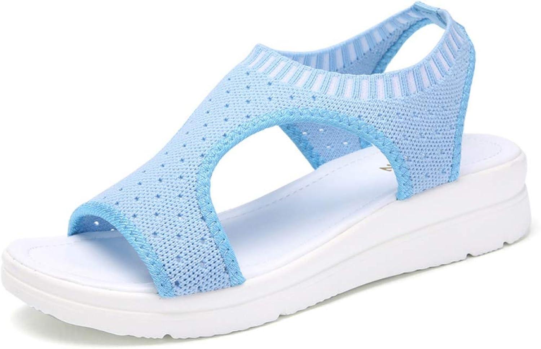 JOYBI Women's Lightweight Sports Sandals Air Mesh Slip On Flexible Comfy Gladiator Flats Sandals