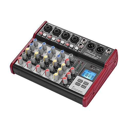 Affordable Leepesx SL-6 Portable 6-Channel Mixing Console Mixer 2-band EQ Built-in 48V Phan Power Su...