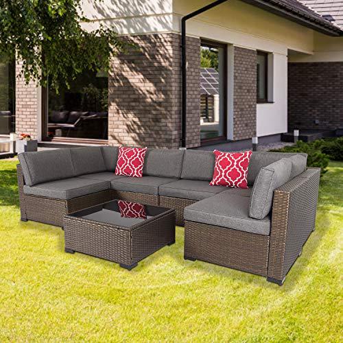 Wicker Patio Furniture Outdoor Sectional Sofa Set Patio Conversation Set for Deck Poolside Garden Sunroom Balcony