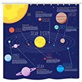 UNIFEEL Solar System Planets Stars and Milky Way Galaxy Space Fabric Astronomical Shower Curtain with The Sun Mercury Venus Earth Mars Jupiter Saturn Uranus Neptune Cosmos Nebula Dark Blue