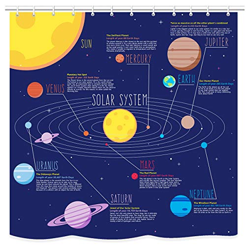 UNIFEEL Solar System Planets Stars and Milky Way Galaxy Space Fabric Astronomical Shower Curtain with The Sun Mercury Venus Earth Mars Jupiter Saturn Uranus Neptune Cosmos Nebula Dark Blue