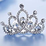 Jakawin Flower Girl Headpiece Crystal Wedding Hair Comb Bridal Tiara Combs Crown Birthday Gift for Girls (Sliver)