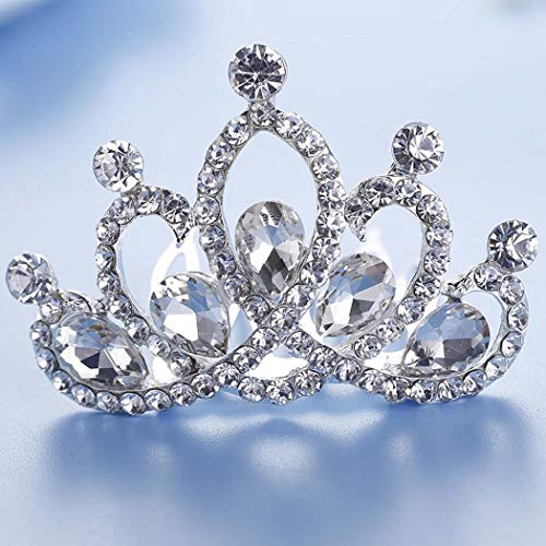 Jakawin Crystal Wedding Hair Comb Flower Girl Headpiece Bridal Tiara Combs Crown Birthday Gift for Girls (Sliver)