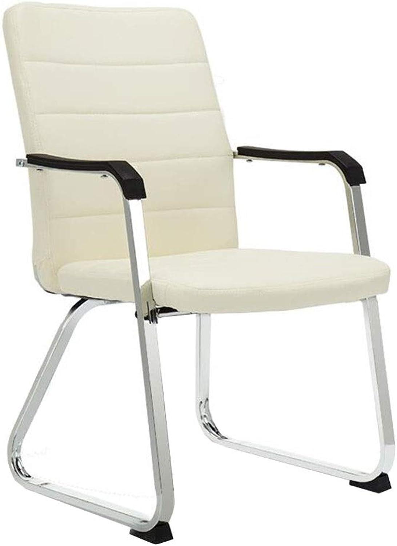 Dall Office Chair Bow-Shape PU Executive Chair Ergonomic Computer Desk Chair Fixed Armrest Backrest Chair (color   Beige)