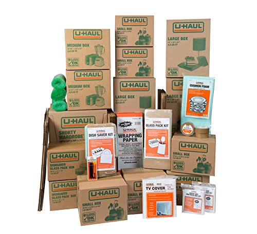 U-Haul Household Moving Kit - 36 Moving Boxes, 2 Wardrobe Boxes, 2 Dish and Glass Packing Kits, 2 Mattress Bags, Tape, and Assorted Packing Supplies