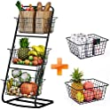 HOWDIA 3 Tier Market Basket with 2 Wire Storage Baskets