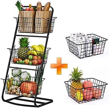 Howdia 3 Tier Market Basket with 2 Wire Storage Baskets