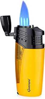Cigar Torch Lighters 3 Jet Strong Flame Butane Refillbale Windproof High Quality Lighter with Punch [Gas Not Include]