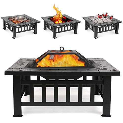 ZDYLM-Y 3 In 1 Outdoor Fire Pit with Grill and Waterproof Protective Cover, Patio Camping Picnic Wood Burning Fireplace Garden Stove