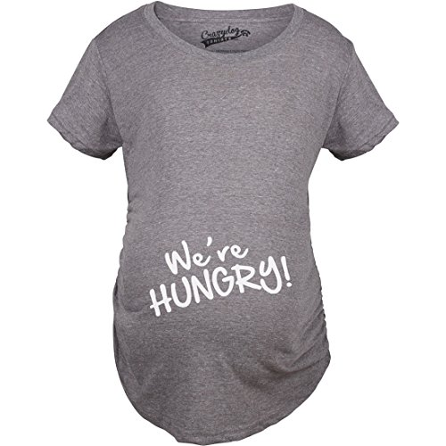 Crazy Dog Tshirts - Maternity We're Hungry Funny Baby Bump Pregnancy Announcement T Shirt (Dark Heather Grey) - M - Femme