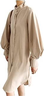 [エムズ モア] ロング シャツ ワンピース ワンピ 羽織り ヘンリーネック モックネック 秋 冬 レディース