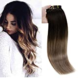 Full Shine Full Head Clip Hair Extensions Human Hair 14 inch 10 Pcs...