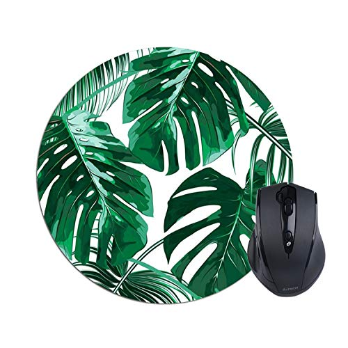 Tropical Leaf Mousepad - Beautiful Design - Leaves Green with White Background - Round Mouse pad