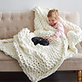 ThrowStyle Large 50 x 60 Inches Chunky Knitted Blanket - Machine Washable, Handwoven Soft, Cozy Chenille Blanket Tight-Knit Multi Use Breathable Boho Blankets and Throws for Your Home, Cream/Ivory