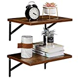 SUPERJARE Wall Mounted Floating Shelves, Set of 2, Wide Display Ledges, 11.8 Inch Deep, Large Storage Rack for Room/Kitchen/Office - Retro Brown