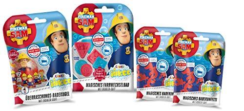 CRAZE - Pack Amusant dans la Baignoire 2 Sacs de confettis pour Le Bain, 1 Colorant pour Le Bain et 1 Bombe de Bain Sam Le Pompier. Sels de Bain moussants pour Baignoire pour Enfants et bébés