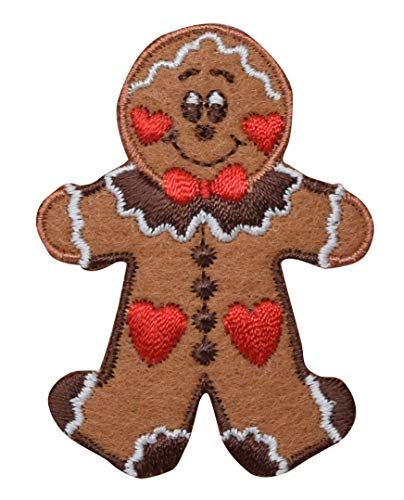 Gingerbread Man Christmas Cookie Iron on Embroidered Patch