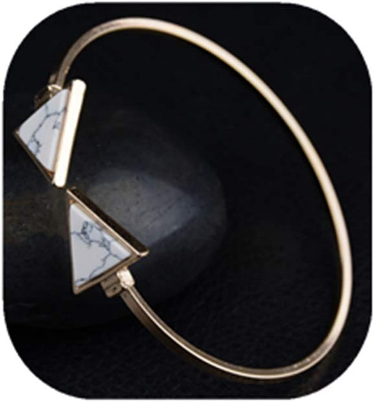 COLORFUL BLING Gold Metal Faux Marble Triangle Stone Bracelet Adjustable Geometric Cuff Bangle for Women Gifts