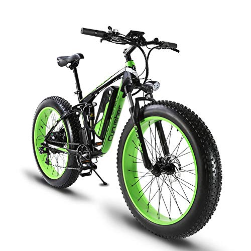 Extrbici XF800 1000W 48V13AH Electric Mountain Bike Full Suspension (Negro y Verde)