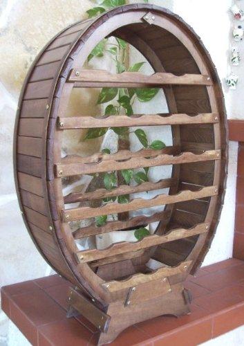 DanDiBo Weinregal aus Holz für 24 Flaschen Weinfass Braun gebeizt Bar Flaschenständer Fass Regal - 4