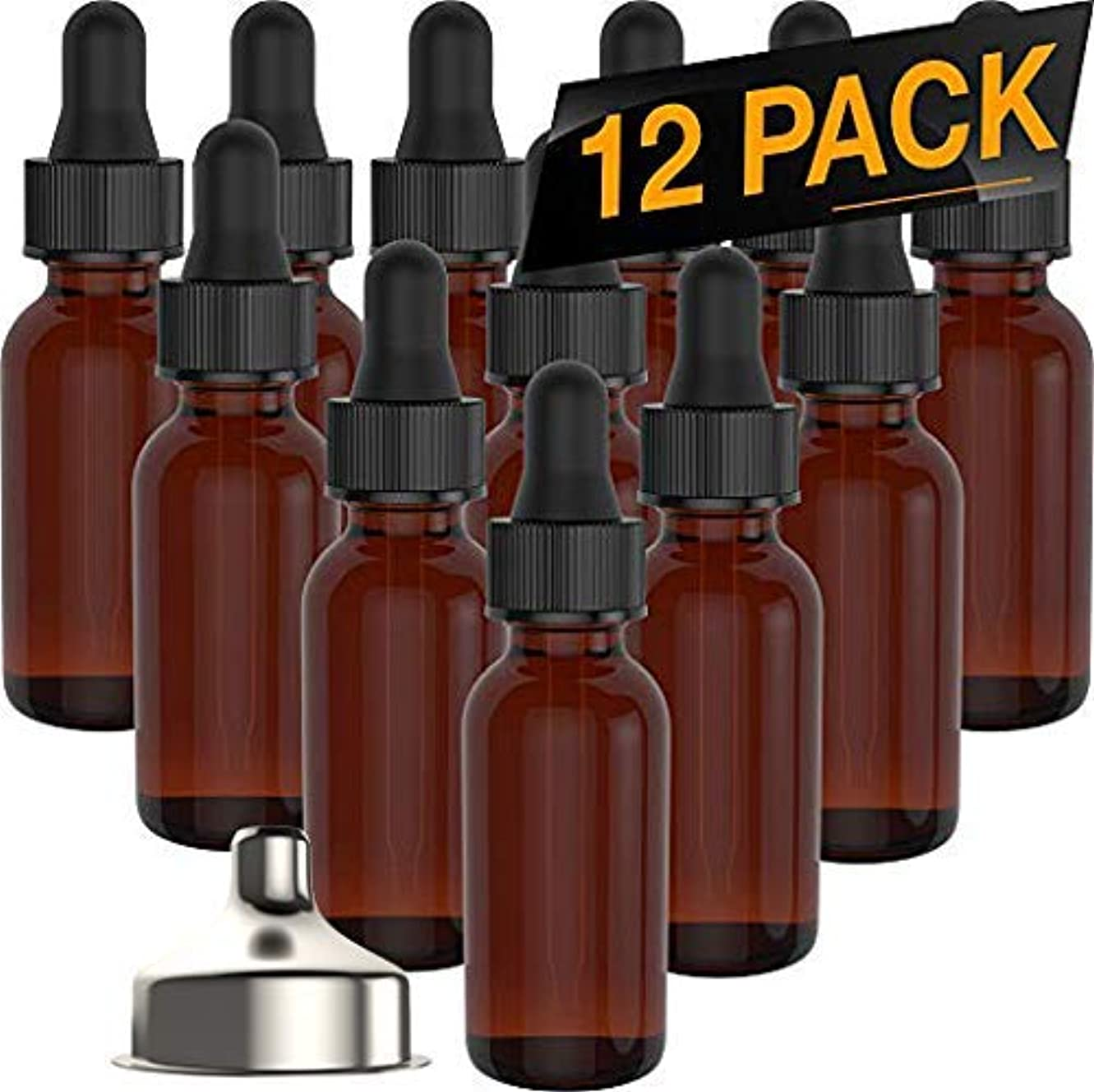 比較出力一般化するEssential Oil Roller Bottles - Round Boston Empty Refillable Amber Bottle with Glass Dropper [ Free Stainless Steel Funnel ] for Liquid Aromatherapy Fragrance Lot - (1/2 oz) 15ml (12 PACK) [並行輸入品]
