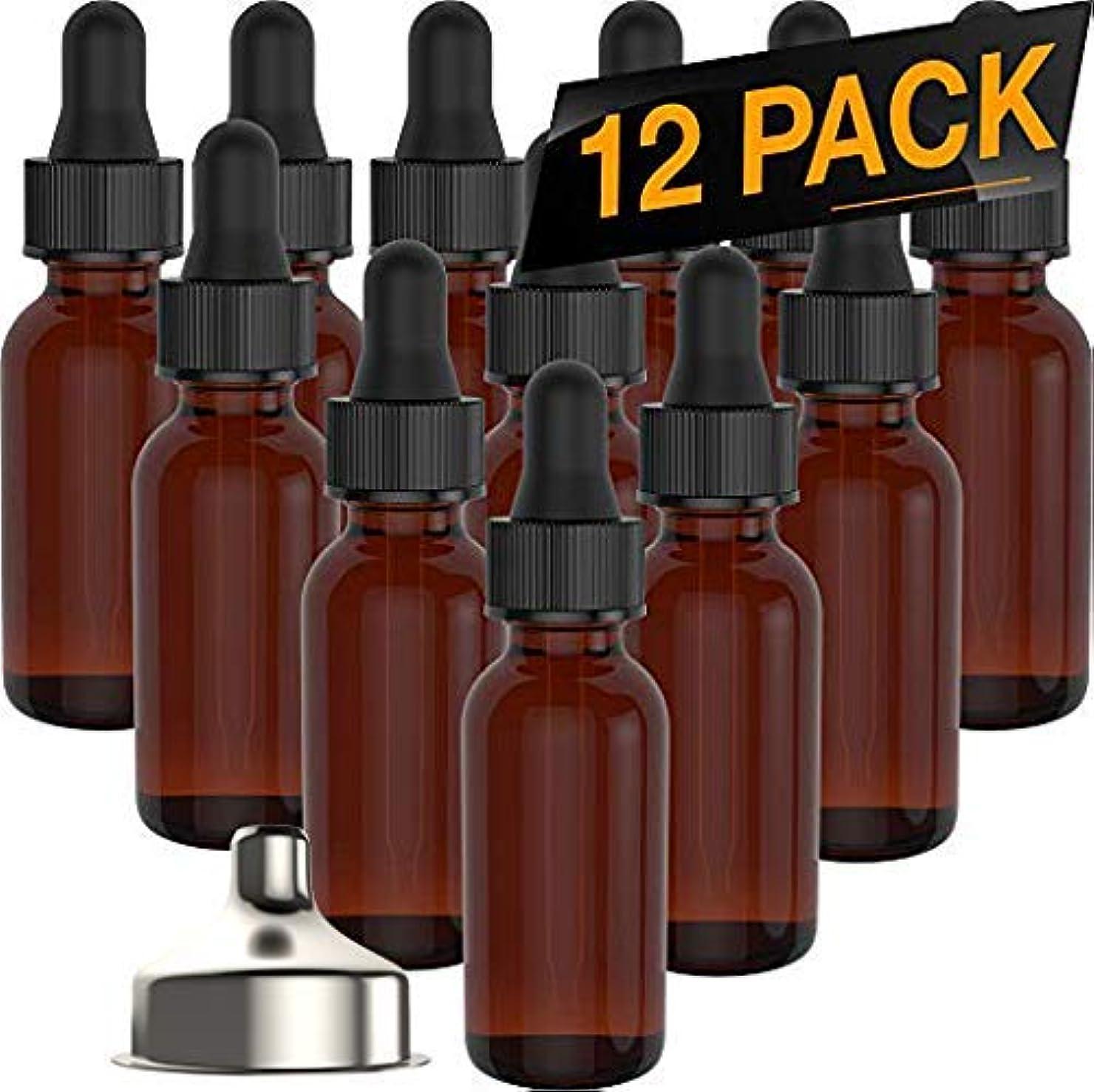 入学するチャームヒットEssential Oil Roller Bottles - Round Boston Empty Refillable Amber Bottle with Glass Dropper [ Free Stainless Steel Funnel ] for Liquid Aromatherapy Fragrance Lot - (1/2 oz) 15ml (12 PACK) [並行輸入品]