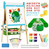 Belleur All-in-one Kid Easel Including 2 Paper Rolls, Magnetic Letters, 6 Finger Paints, 8 Colors Markers, Deluxe Standing Art Easel with Magnetic Chalkboard & Whiteboard, Easy to Adjust Height - Blue