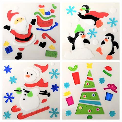 4 Hojas de Pegatinas Decorativas de Navidad para la Ventana - Adhesivos Decorativos de Gel Para la Ventana (Edición 2)