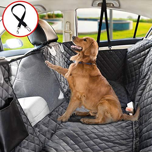 Vailge Autoschondecke für Hunde Rücksitz rutschfeste Hundedecke Auto Rückbank wasserdichte mit Sichtfenster, Kofferraumschutz Hhund mit Sicherheitsgurt für Auto Van SUV (Standard(142cm W x152cm L))