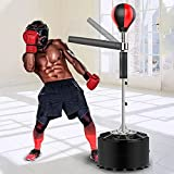 Punching Bag with Stand, Solid Boxing Ball,Boxing Training Target with 360° Swing Arm, Reflex Speed Bag for Home Gym Workout Fitness, Height Adjustable 64'-78'