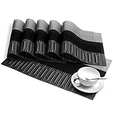 SHACOS Exquisite PVC Placemats Woven Vinyl Place Mats for Table Heat-Resistant Brown Mats (6, Ombre Black and Gray)