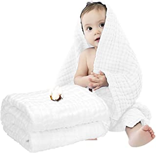 Muslin Baby Towel Super Soft Cotton Baby Bath Towel 6 Layers Infant Towel Newborn Towel Blanket Suitable for Baby's Delica...