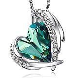 cde collana con ciondolo a cuore regali di gioielli di compleanno per donne moglie mamma(oro bianco-verde)