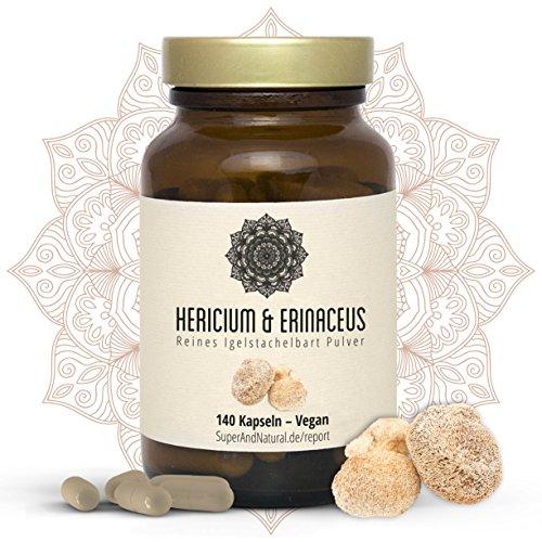 Hericium & Erinaceus Vitalpilz Kapseln I Vegan I Igelstachelbart Pulver | 140 x 650mg Hericium Erinaceu Kapseln I Superfood
