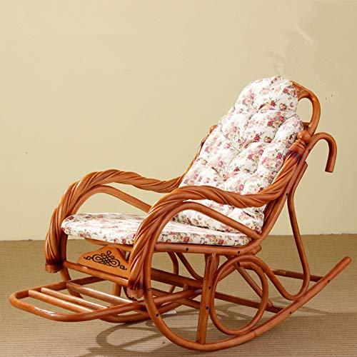 DZWLYX Schaukelstuhl mit Kissen Rattan Korbmöbel Innen Wohnzimmer Glider Recliner Moderne Rattan Sessel Wohnzimmer Stühle (Color : Flower Cushion)