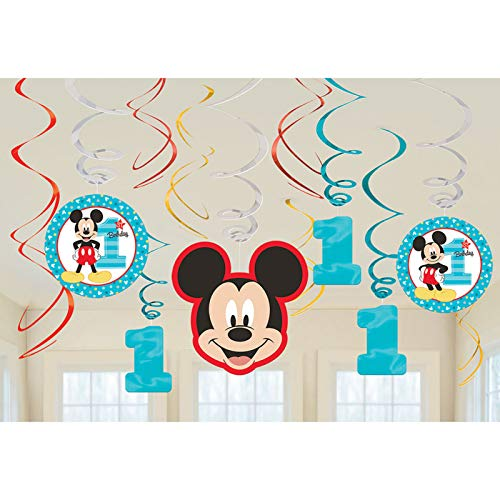 Amscan 1st Birthday Mickey Mouse Swirl Decorations 12Count Party Supplies Mickey Fun to Be One! One Size, Multicolor