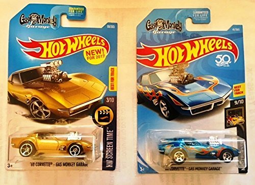 Hot Wheels 2017 and 2018 68 Corvette Gas Monkey Garage car set