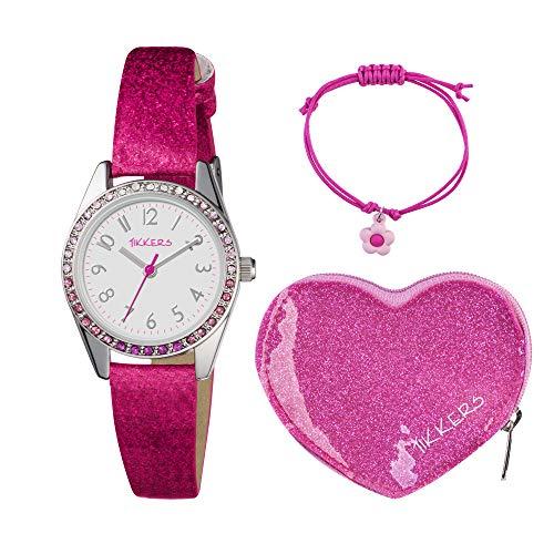 Tikkers ATK1032 Montre avec coffret cadeau en forme de cœur Rose à pailletés