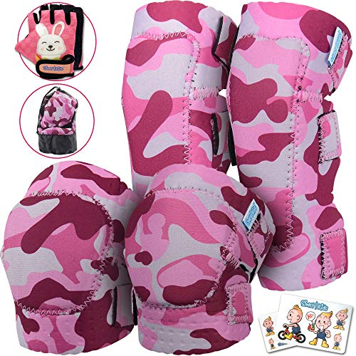 Innovative Soft Kids Knee and Elbow Pads with Bike Gloves | Toddler Protective Gear Set w/Mesh Bag& Sticker | Comfortable& Flexible | Roller-Skating, Skateboard, Bike Knee Pads for Children Boys Girls